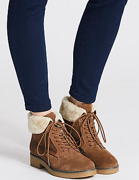 Wide Fit Suede Lace-up Ankle Boots