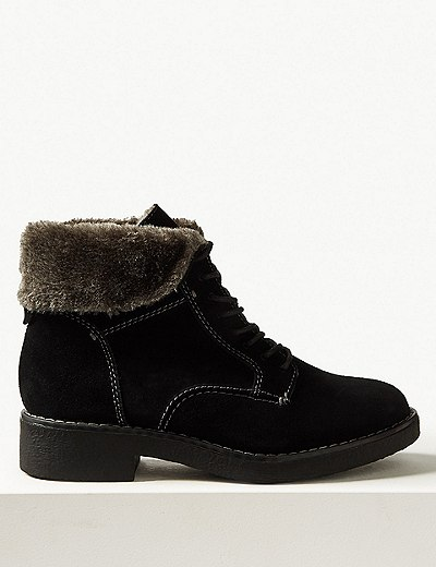 ada8e38ad01 Wide Fit Suede Lace-up Ankle Boots
