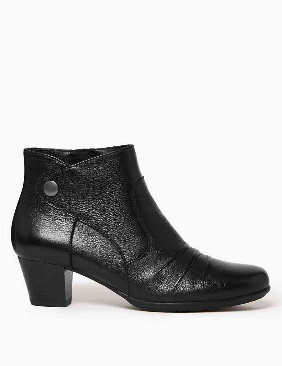 5f9d79bf84dd Wide Fit Leather Ruched Stud Ankle Boots