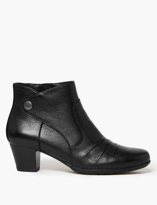 d8734204b89e Wide Fit Leather Ruched Stud Ankle Boots