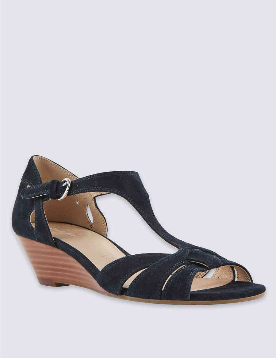 Leather T Bar Wedge Sandals