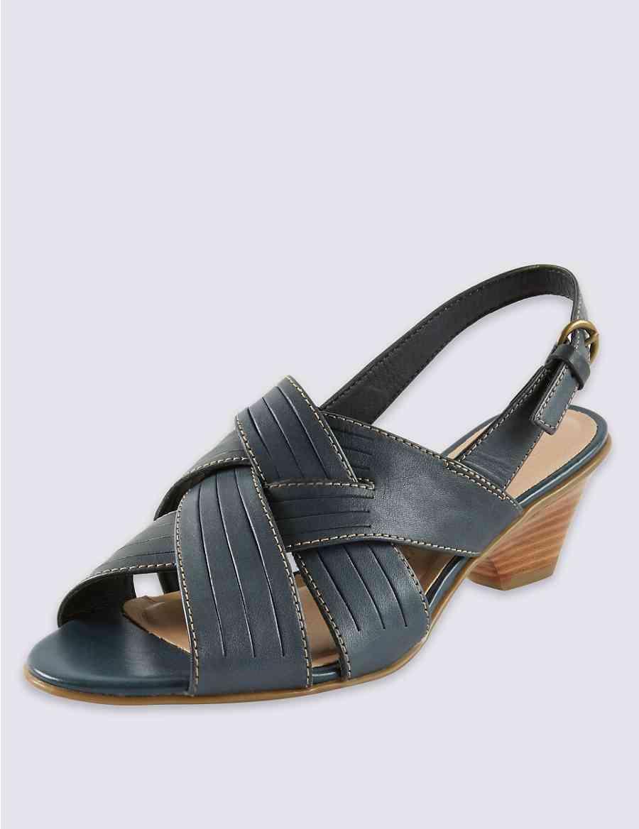 ad3e532f971f1 Leather Crossover Strap Sandals | Footglove™ | M&S