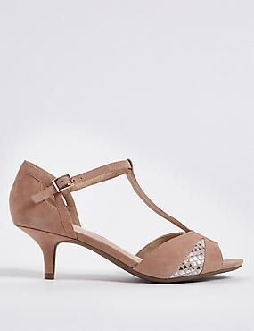 Wide Fit Suede Kitten Heel Buckle Sandals