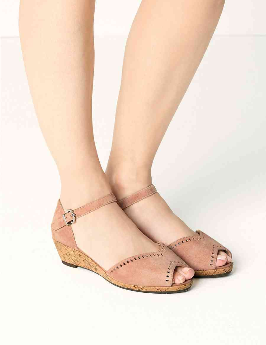 b2b78e47216 Wide Fit Suede Wedge Sandals