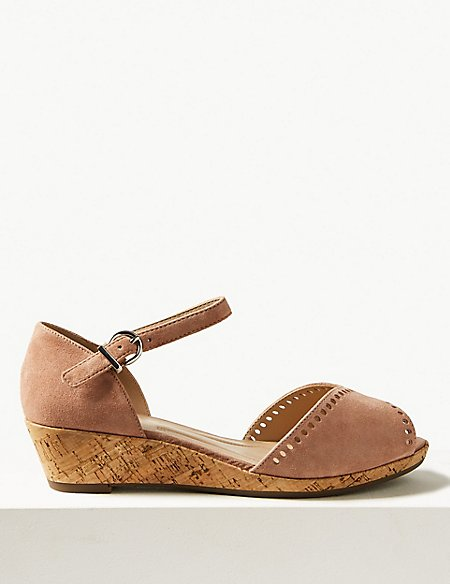 Wide Fit Suede 2 Part Wedge Sandals