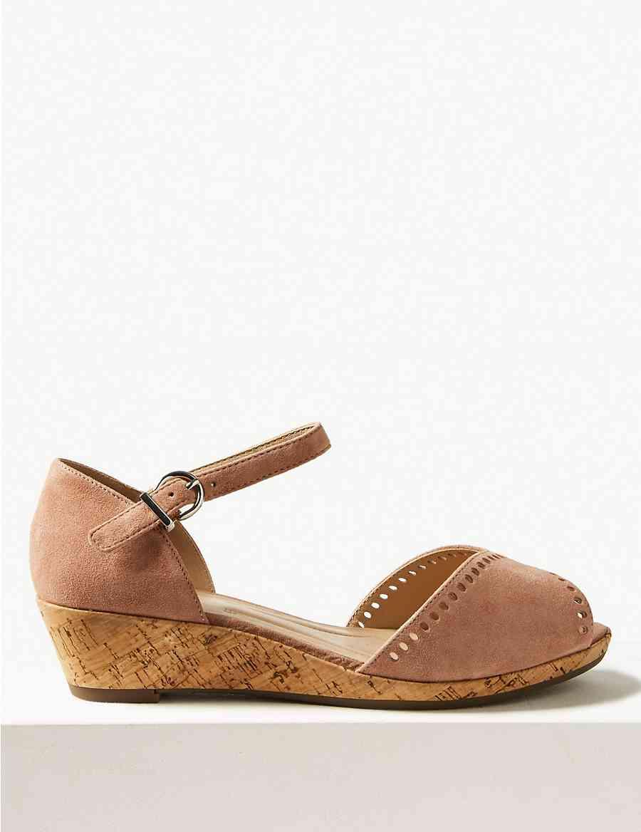 c8a11671af53 Wide Fit Suede Wedge Sandals