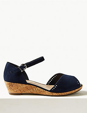 Suede Wide Fit 2 Part Wedge Sandals