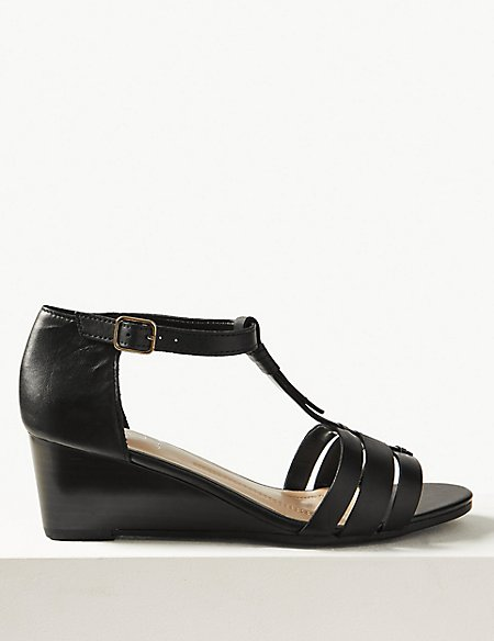 Leather Wide Fit Wedge Sandals