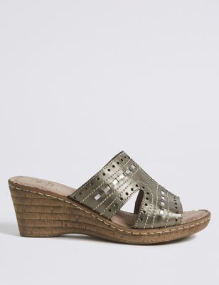 Wide Fit Leather Wedge Heel Mule Sandals by Marks & Spencer