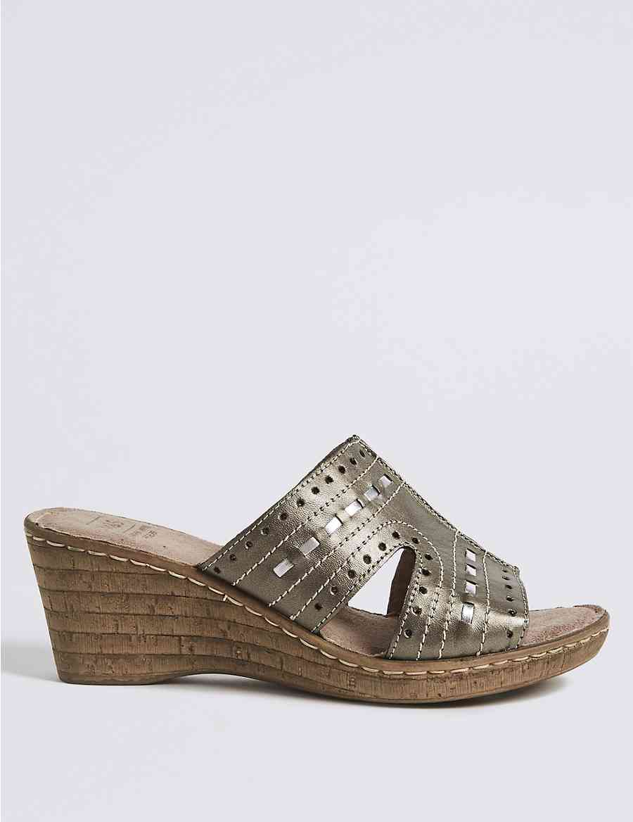 a96b4e68ff3 Wide Fit Leather Wedge Heel Mule Sandals