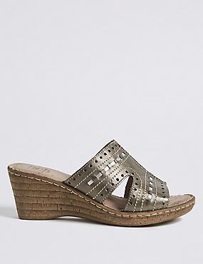 Wide Fit Leather Wedge Heel Mule Sandals