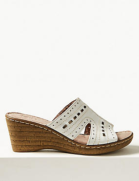 Wide Fit Leather Wedge Heel Mule Sandals