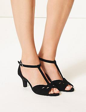 Wide Fit Suede Kitten Heel Sandals