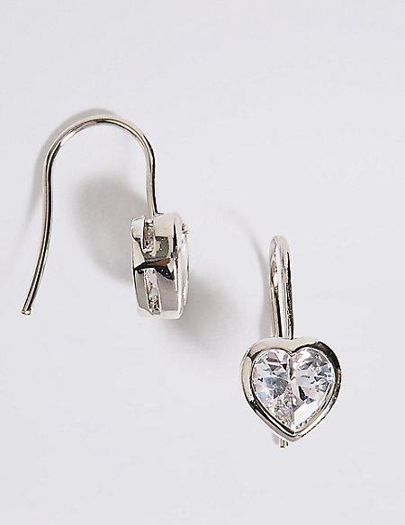 Platinum Plated Heart Bezel Drop Earrings