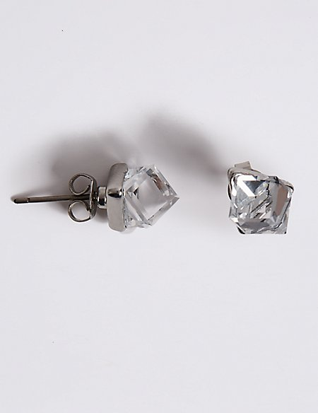Cube Stud Earrings With Swarovski® Crystals
