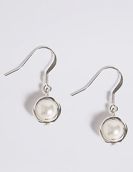 Capped Pearl Effect Drop Earrings