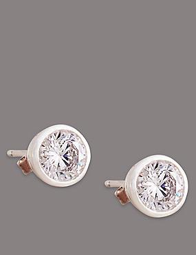 Sterling Silver Floating Stone Diamanté Stud Earrings