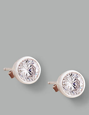 Sterling Silver Floating Stone Diamanté Stud Earrings