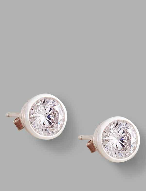 7dc50c553 Sterling Silver Floating Stone Diamanté Stud Earrings