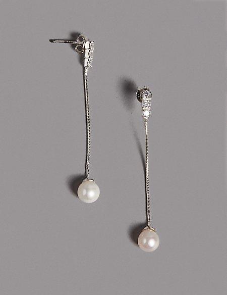 Sterling Silver Pearl Effect Diamanté Drop Earrings