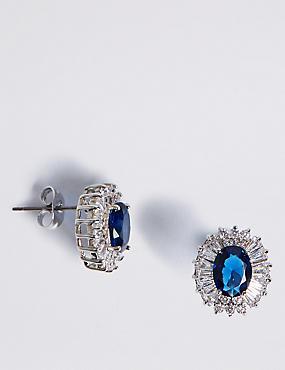 Platinum Plated Baguette Regal Stud Earrings