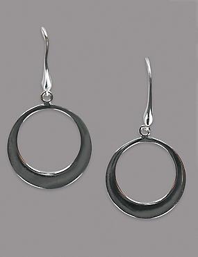 Sterling Silver Smooth Flat Hoop Earrings