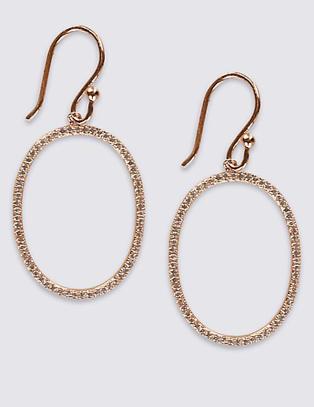 18ct Rose Gold Plated Sterling Silver Earrings with Pavé Cubic Zirconia