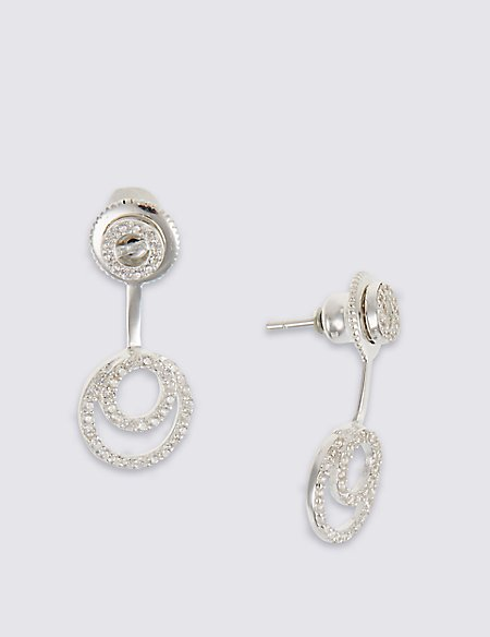 Modern front and back earrings