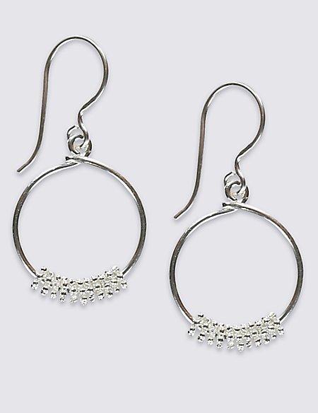 Sterling Silver Textured Multi Link Hoop Earrings