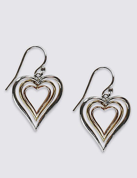 Sterling Silver Triple Heart Earrings with 18ct Yellow & Rose Gold Plated Hearts