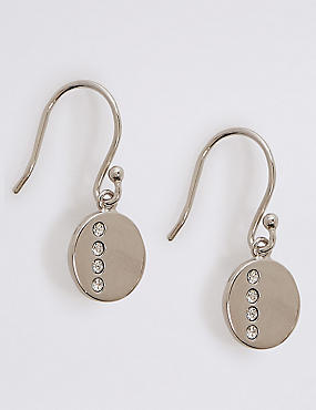 Sterling Silver Stone Disc Drop Earrings with Swarovski® Crystals