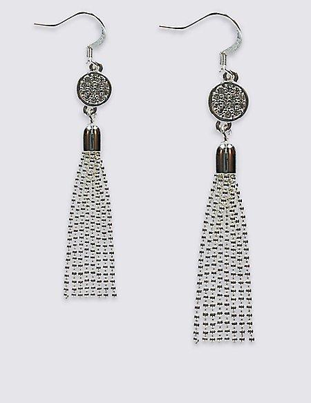 Silver Plated Tassel Drop Earrings
