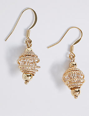 Gold Plated Spiral Cage Drop Earrings
