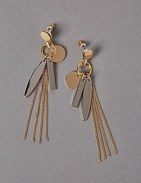 Sleek Onyx Shapes Tassel Earrings