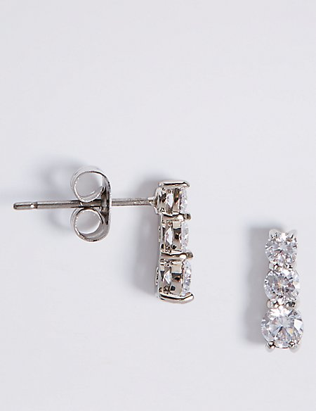 Platinum Plated Triple Diamanté Drop Earrings