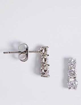 Platinum Plated Triple Diamanté Drop Earrings