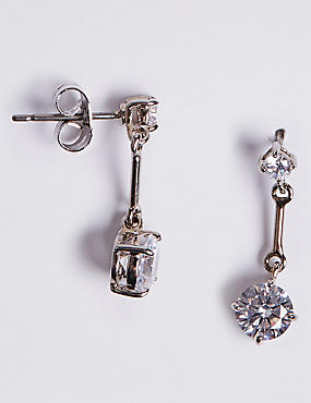 Platinum Plated Stick Diamanté Drop Earrings