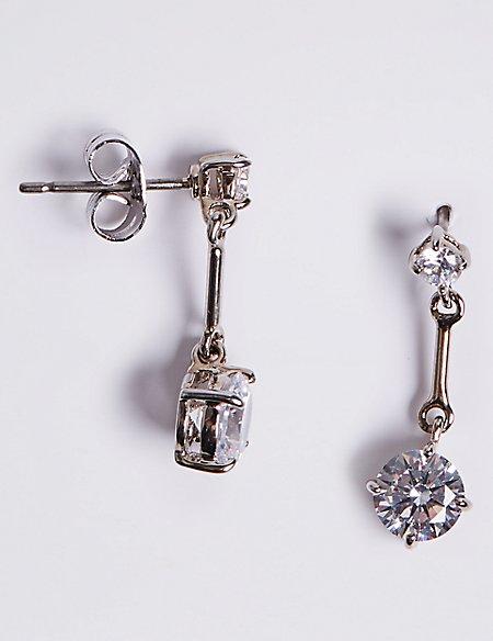 Platinum Plated Stick Diamanté Drop Earrings