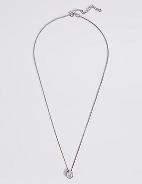 Sterling Silver Floating Stone Diamanté Necklace