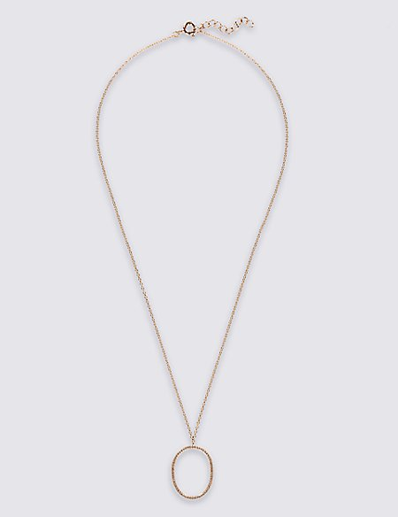 Rose Gold Plated Sterling Silver Necklace with Pave Cubic Zirconia