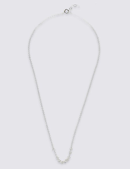 Sterling Silver Textured Multi Link Hoop Necklace