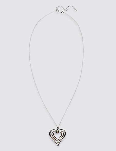 Sterling Silver Necklace with 18ct Yellow & Rose Gold Plated Hearts
