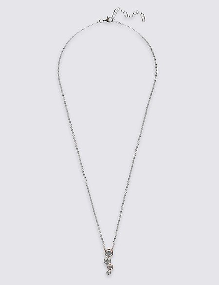 Sterling Silver Necklace with Rose Gold Plating & Cubic Zirconia