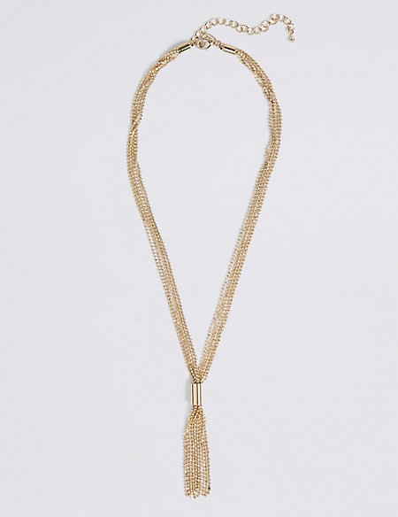 Gold Plated Tassel Drop Necklace