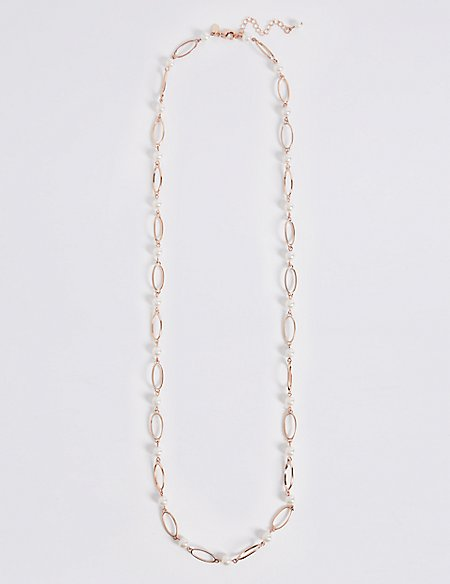 Oval Link Pearl Long Necklace