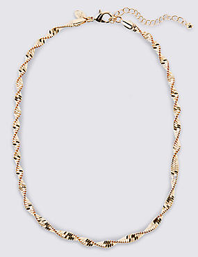 Gold Plated Twist Sparkle Rope Necklace