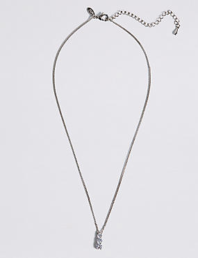 Platinum Plated Triple Diamanté Pendant Necklace