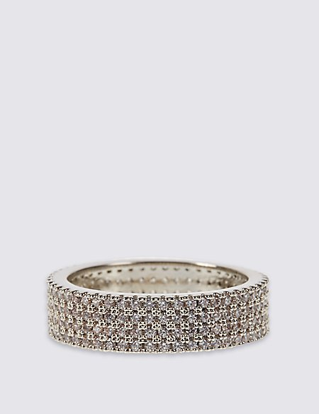 Platinum Plated Diamanté Pave Ring