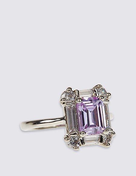 Platinum Plated Square Baguette Stone Ring