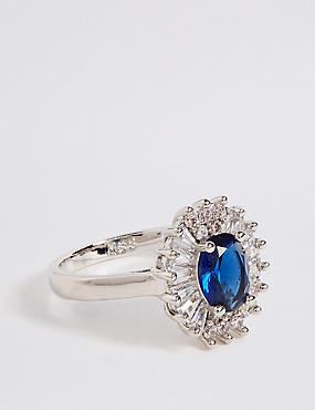 Platinum Plated Baguette Regal Ring